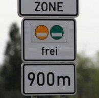 "Additional sign Umwelt ZONE ""frei"""